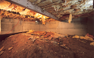 Crawl Space Moisture Barrier before in Knoxville
