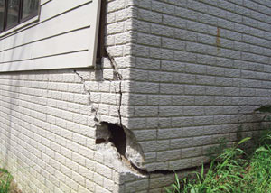 A severely damaged foundation wall in Cookeville