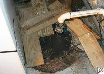 An ugly, clogged sump pump system in Dalton, Tennessee