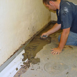Testing a French drain system in a Elizabethton home.