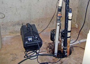 Pedestal sump pump system installed in a home in Powell