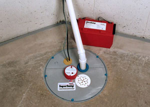 A sump pump system with a battery backup system installed in Sparta
