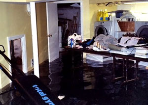 A laundry room flood in Newport, with several feet of water flooded in.
