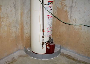 A water heater in Jonesborough that's been protected by the FloodRing® and a perimeter drain system.