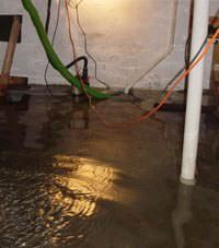 Several feet of floodwaters in a Madisonville basement