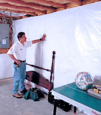 Plastic 20-mil vapor barrier for dirt basements, Sevierville, Tennessee installation