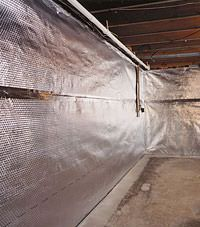 Radiant heat barrier and vapor barrier for finished basement walls in Sevierville, Tennessee